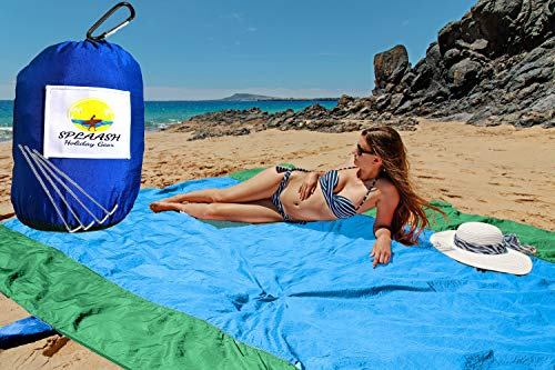 Sand-Free Beach Blanket and Beach Mat, for Outdoor Picnics, Camping, Hiking, Travel, and Festivals, Durable and Quick-dry Premium Quality Parachute Nylon, Huge Size 10ft x 9ft, Dark Blue Color