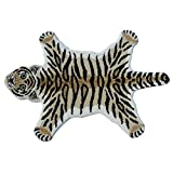 AM 2' x 3' Multi Color Black Stripe Tiger Skin Shape Area Rug, Wool Cotton Animal Wild Africa Safari Lively Wilderness Charming Quality Unique Majestic, Indoor Living Room Bedroom Accent Carpet
