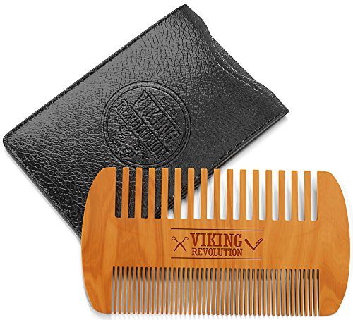 Price comparison product image BEST DEAL Wooden Beard Comb & Case, Dual Action Fine & Coarse Teeth, Perfect for use with Balms and Oils, Top Pocket Comb for Beards & Mustaches by Viking Revolution