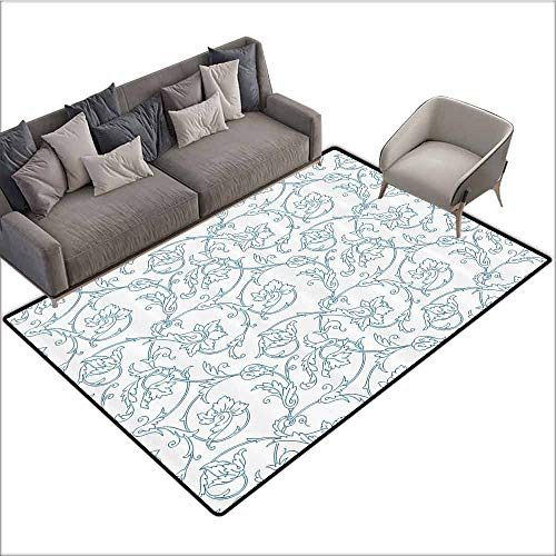 Anti-Slip Cooking Kitchen Carpets Floral,Flower Orchids Bohemian Style Vintage Petals Vines Pattern French Country Style,Blue White 60