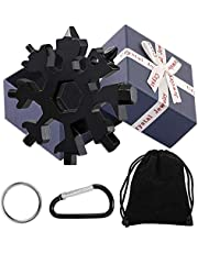18-in-1 Snowflake Multi-Tool Stainless Steel Snowflake Multi-Tool Snowflake Tool Card Keychain Screwdriver, Bottle Opener Tool, Hex Wrench for Outdoor Travel Camping (black-GIFT)
