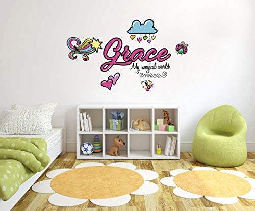 Custom Name & Initial Colorful Magic Fantasy - Handmade Series - Baby Boy - Wall Decal Nursery For Home Bedroom Children (R Oct 63)