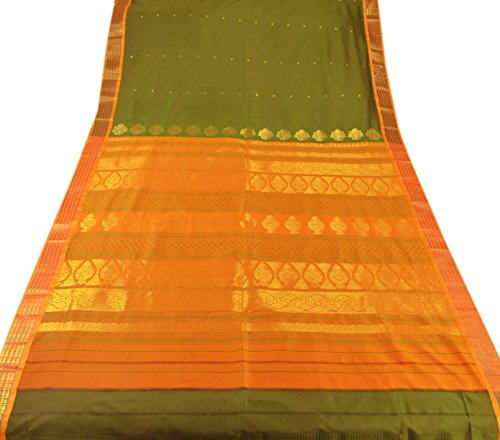Skirts 'N Scarves Women's ArtSilk Pallu Saree with Blouse Piece (Green)