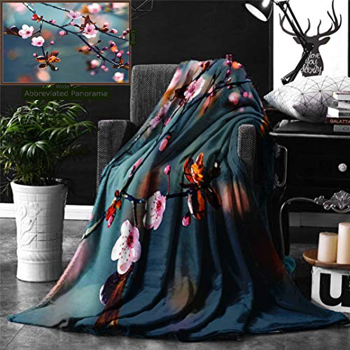 Unique Custom Digital Print Flannel Blankets Nature Japanese Blooming Cherry Tree Flowers On Branch Sakura Theme Picture Light Super Soft Blanketry for Bed Couch, Throw Blanket 60 x 40 Inches