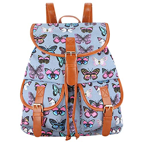 New Arrival Pink Gray Butterfly Printing Canvas Backpack Bagpack School Bags ButterflyGray