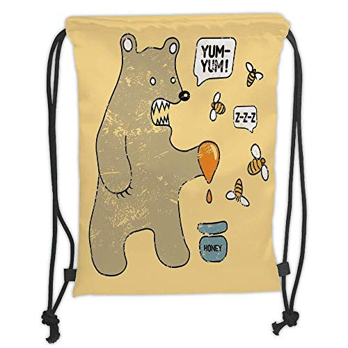 Custom Printed Drawstring Backpacks Bags,Cartoon,Cute Caricature Style Bear with Bees and Honey Saying Yum Yum Kids Comic Graphic,Taupe Yellow Soft Satin,5 Liter Capacity,Adjustable String Closur ()