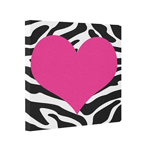 wonbye Gallery Wrapped Canvas Hot Pink Heart on Zebra Wild Wall Photo Printing On Canvas 8x8 inch