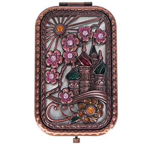 (Ivenf Rose Golden Castle & Flower Square Vintage Compact Purse Mirror)