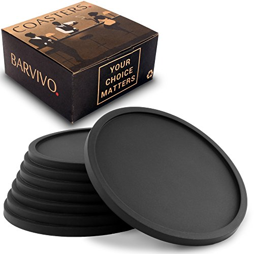 Drink Coasters by Barvivo Set of 8 - Tabletop Protection For Any Table Type, Wood, Granite, Glass, Soapstone, Sandstone, Marble, Stone Tables - Perfect Soft Coaster Fits Any Size of Drinking Glasses.