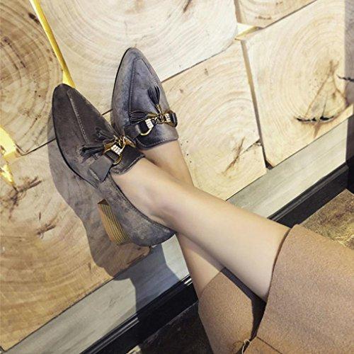JIANGFU Frauen/Frühlingsmodelle/College Wind/Wildleder/Quasten/Dick mit/Einzelne Schuhe, Frauen Frühling Freizeitschuhe Flock Fringe Square Heel Ankle Schuhe Gray