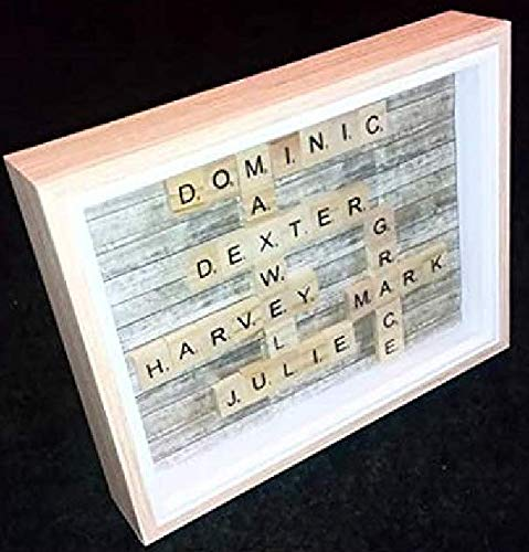 Scrabble Tile Scrabble Word Art Family Tree Scrabble Art Frame Family Word Art Family Tree Gift Bespoke Candles and Gifts Freestanding Personalised Scrabble Frame Frame Box Frame