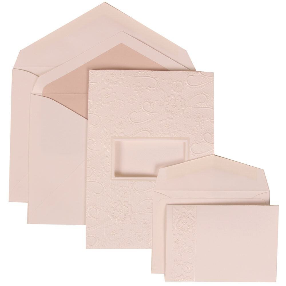 JAM Paper Wedding Invitation Combo Set - 1 Large & 1 Small - White Card with Pink Lined Envelope with Embossed Window - 150/pack