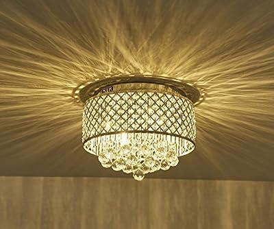 Surpars House Flush Mount 4-Light Chrome Silver Crystal Chandelier
