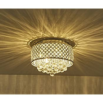 Surpars House Flush Mount 4-Light Chrome Silver Crystal Chandelier ...
