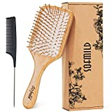 Hair Brush-Natural Wooden Bamboo Brush + Free Detangle Tail Comb Instead of Brush Cleaner Tool, Eco-Friendly Paddle Hairbrush for Women Men and Kids Make Thin Long Curly Hair Health and Massage Scalp