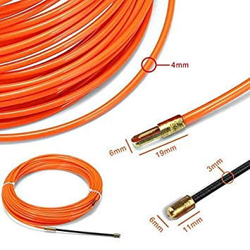 Shumo 4Mm 5 M/èTres De Dispositif De Guidage Orange De Cable /éLectrique En Nylon De Conduits De Serpent Rodder De Poussoirs De Conduits De P/êChe