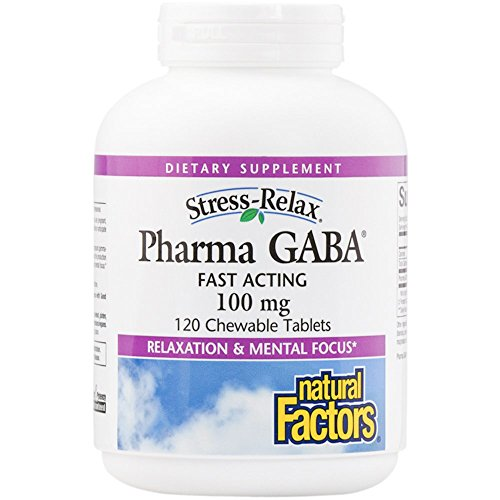 100 Mg Chewable (Natural Factors - Stress-Relax Pharma GABA 100mg, Fast Acting, 120 Chewable Tablets)