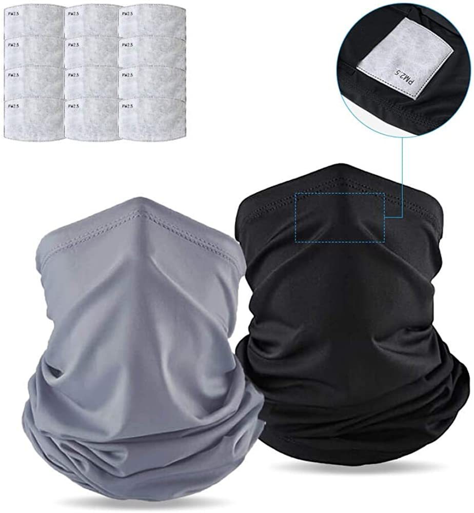 Cooling Neck Gaiters with carbon filter For Men and Women, Bandana Dust Half Fishing Face Scarf Reusable, Face Cover, Ice Silk Cloth Breathable,UV Proof For Hiking, Running, Cycling (14 pc)