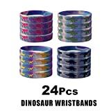 24 Pack Dinosaur Silicone Wristbands Bracelets,Birthday Party Favors for Kids,Goody Bag Supplies for Boys and Girls, Dinosaur Party Supplies ,Novelty Rubber Wristband