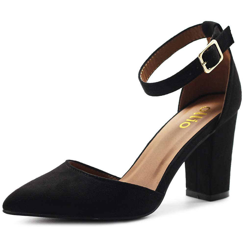 Black Ollio Women's shoes Pointed Toe Ankle Straps Chunky Heels Pumps H95