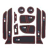 Heavy Duty Non-Slip Mat Door Mat Cup Mat Car Pad Floor Mats Fit BMW 3 Series 11pcs Red Line