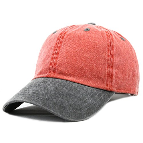 THE HAT DEPOT Cotton Pigment Dyed Low Profile Six Panel Cap (Red Black) (Mens Pigment)