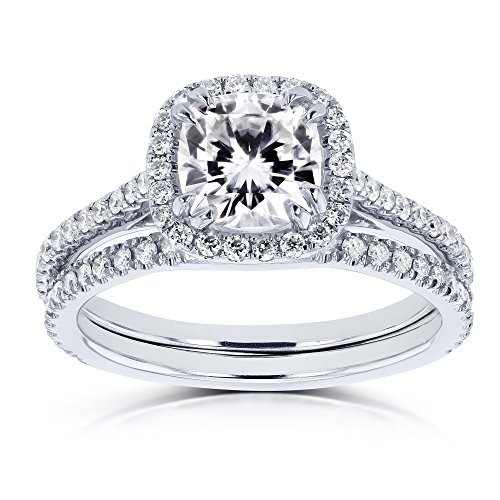 Cushion Forever One (D-E-F) Moissanite and Diamond 1-1/2ct TGW Halo Bridal Set in 14k White Gold - Size 4.5