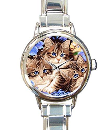 Coolstuffs Cats with purple eyes flowers Women Ladies Italian Charm Bracelet Wrist Watch Analog Quartz Classic Watch