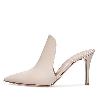 1f72c64b62 Amazon.com | Elegant Pointed Toe High Heel Beige Mules Open Back ...