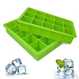 Bedee Ice Cube Trays, 2 Packs Silicone Ice Cube Tray FDA Approved Food Grade Ice Molds, 15 Cubs per Tray Best for Whiskey, Cocktail and Any Drink UK Delivery - Green