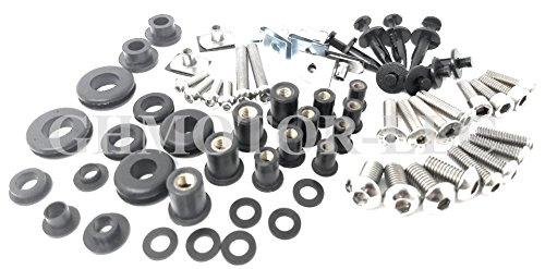 GHMotor Complete Fairings Bolts Screws Fasteners Kit Set Made in USA for 2004 2005 2006 Yamaha R1 - Silver
