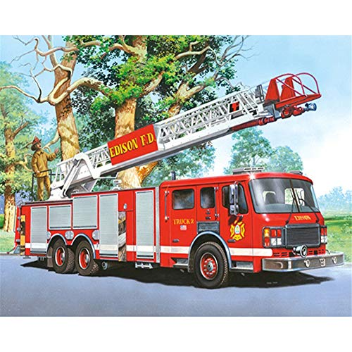 Aphila Diamond Painting Kits for Adults Round Drills Full Resin Rhinestones Embroidery Cross Stitch Decor Gift Fire Truck 30x40cm/12