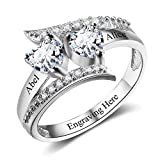 Lam Hub Fong Personalized Mothers 2 Birthstone Rings Custom Rose Gold Name Rings Sterling Silver Rings Promise Heart Rings for Her-RI102499-5