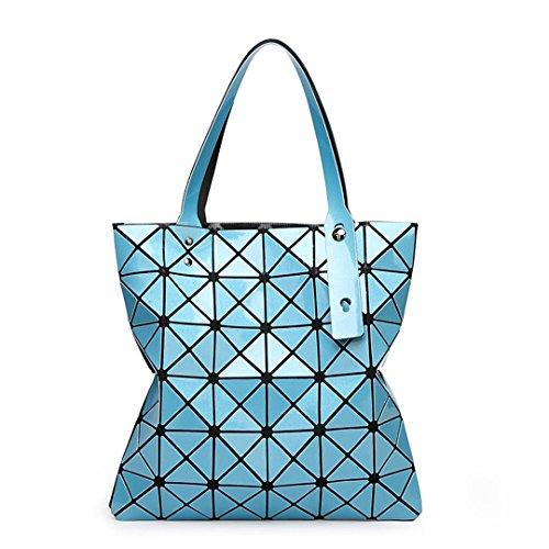 Bolsos de mano de mujer Bolsos de hombro cepillados Bolsos de geometría plegable small blue Small Sky Blue