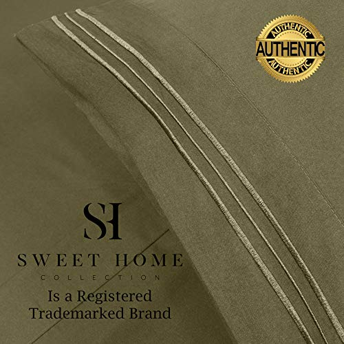 1500 Supreme Collection Extra Soft Twin Sheets Set, Olive - Luxury Bed Sheets Set with Deep Pocket Wrinkle Free Hypoallergenic Bedding, Over 40 Colors, Twin Size, Olive