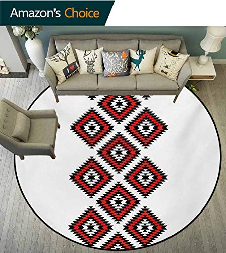 RUGSMAT Tribal Modern Washable Round Bath Mat,Native American Style Zig Zag Aztec Motif with Embroidery Ornaments Image Non-Slip Bathroom Soft Floor Mat Home Decor,Round-63 Inch Vermilion White