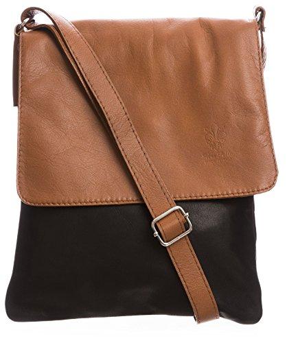 Big Handbag Womens Italian Real Soft Leather Cross Body Messenger Shoulder Bag (Black - Tan (Real Italian)