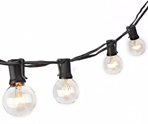 SUNSGNE 50Ft G40 Globe String Lights for Indoor&Outdoor Commercial Use,Retro Outdoor String Lights for Patio Backyard Pergola Cafe Bistro Garden Porch Umbrella Tents Decks,(Plus 2 Extra Bulbs)-Black