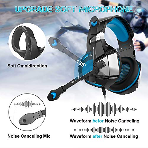 Micolindun V3blue Gaming Headset for PS4 Xbox One Over Ear Gaming Headphones with Mic Stereo Surround Noise Reduction LED Lights Volume Control for Laptop PC Tablet Smartphones Blue
