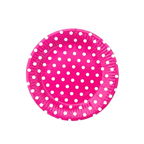 SOCOSY Colorful Polka Dot Round Paper Plates Disposable Plates Paper Dessert Plates Snack Plate for Party Birthday Wedding Catering 7''(10pcs)