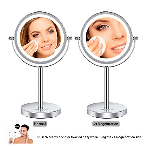 Lighted Makeup Mirror - 6'' LED Vanity Mirror 7x Magnification Double Sided Mirror Cosmetic Table Mirror Polished Chrome ALHAKIN by AlHAKIN (Image #2)