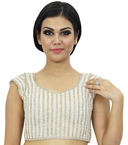 Sari indio de la blusa del desgaste de boda del diseñador Lehanga Choli cosido Crop-Top Blanco