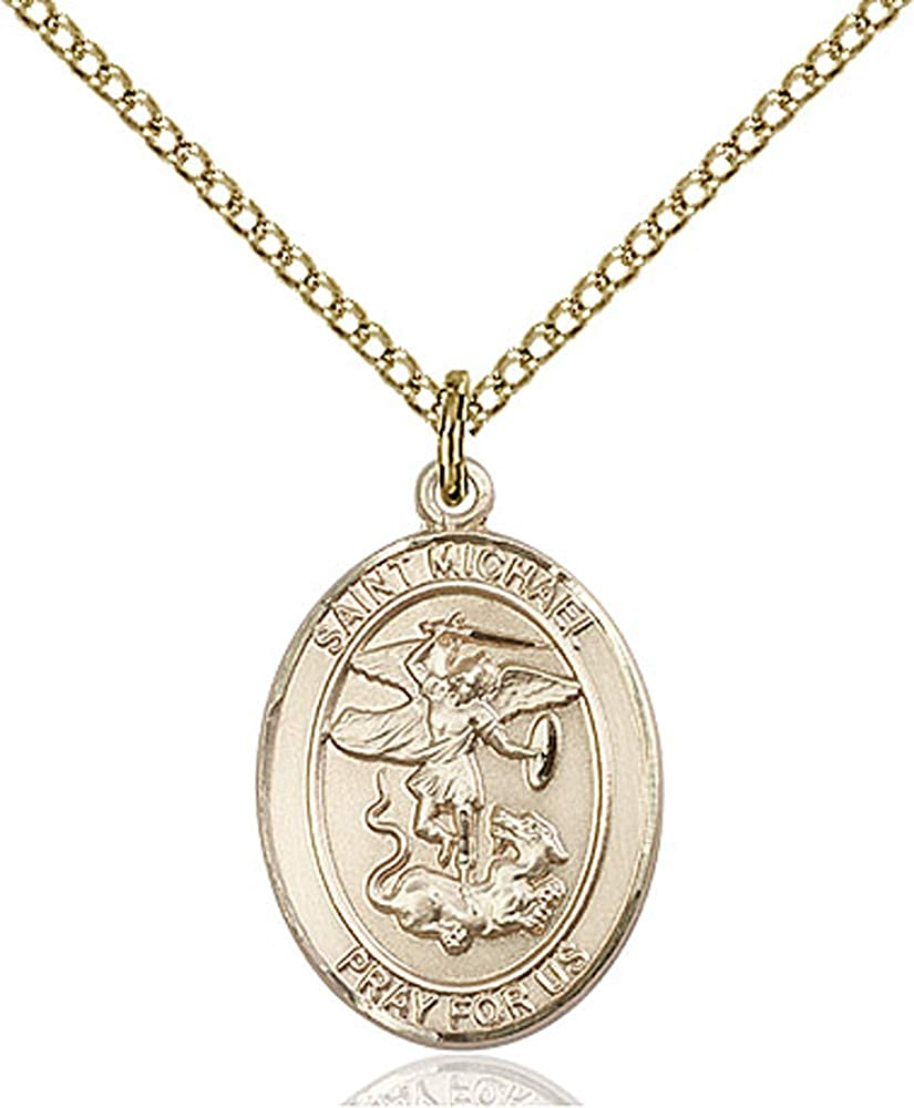 Gold Filled Lite Curb Chain Patron Saint Police Officers//EMTs 3//4 x 1//2 14kt Gold Filled St Michael the Archangel Pendant