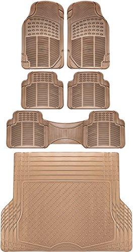 (OxGord 6pc Full-Set Ridged Rubber Floor Mats, Universal Fit Mat for SUVs, Vans- Front Rear, Driver, Passenger, Seat, Rear Runner, and Trunk Liner Beige)