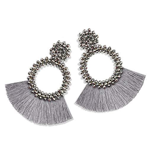 Statement Tassel Bead Earrings for Women, Drop