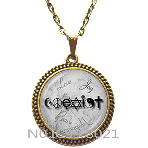 maoqunza Fashion Necklace Fashion Pendant,Coexist Necklace Unity of Faith Pendant Crescent Moon Jewelry Yin Yang Pentagram Cross Hippy Love Peace Sign -