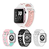 Band for Apple Watch 38mm, Alritz [Patent Pending] Silicone Sport Strap Breathable Replacement Wristband for Apple Watch Series 1, Series 2, Nike+, Sport, Edition