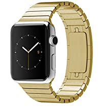Apple Watch Band 42mm, Eoso Stainless Steel Replacement Smart Apple Watch Band Link Bracelet with Double Button Folding Clasp for 42mm Apple Watch All Model (Bracelet Gold,42mm)