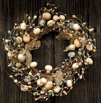 Eggs & Pips Wreath Rustic Burlap Bows Country Primitive Easter Décor