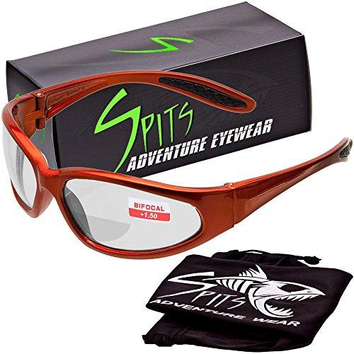 Hercules BIFOCAL Safety Glasses - Orange Frame - Clear 1.50